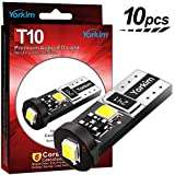 Yorkim 194 Led Bulb Canbus Error Free T10 bulb White Super Bright Light 3-SMD 2835 Chipsets, T10 LED Bulbs for Car Dome Map Door Courtesy License Plate lights - T10 Wedge W5W 194 168 2825 Pack of 10
