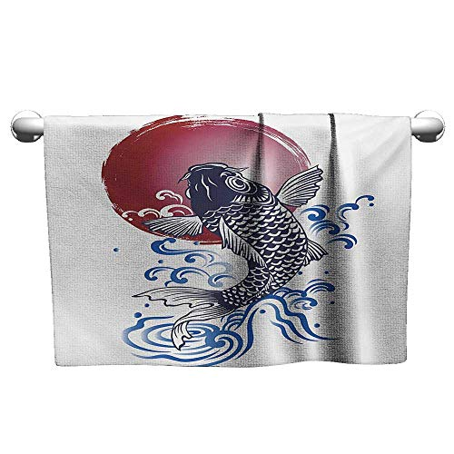 alisoso Japanese,Best Bath Towels Ornate Japanese Brocaded Carp Fin with Red Circular Form Eastern Sea Colored Graphic Washcloths Blue W 20