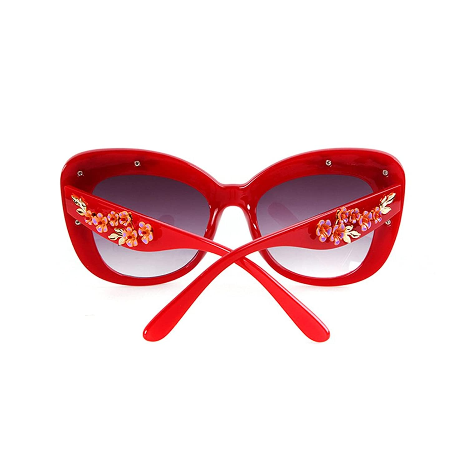 Guoxuan Women's Plactic Frame Butterfly Style Flower Sunglasses