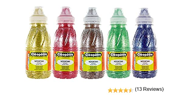 Cleopatre - PP250x5B - Pack de 5 frascos de pintura al agua, con purpurinas, 250 ml, colores secundarios: Amazon.es: Oficina y papelería