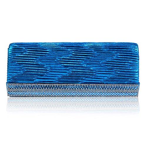 Drilling Magnetic Bag Snap Banquet Blue Wrinkle Evening Damara Womens zIB56xq