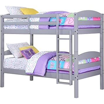 Mainstay Better Homes and Gardens Leighton Twin Over Twin Wood Bunk Bed, Gray