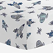 Carousel Designs Navy Retro Rockets Crib Sheet - Organic 100% Cotton Fitted Crib Sheet - Made in The USA