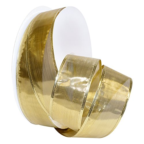 Metallic Wired Ribbon (Morex Ribbon Gleam Wired Metallic Sheer Ribbon, 1.5-in x 50-Yd, Gold)