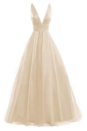 JAEDEN Deep V Neck Tulle Evening Party Dresses Long Prom Gown Open Back Champagne US 4