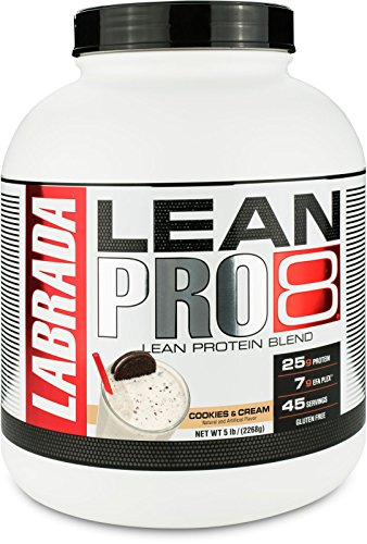 Labrada Nutrition Lean Pro 8, Super Premium Protein Powder with Whey Isolate & Casein for All-Day Lean Muscle Support, Cookies & Cream, 5 Pound