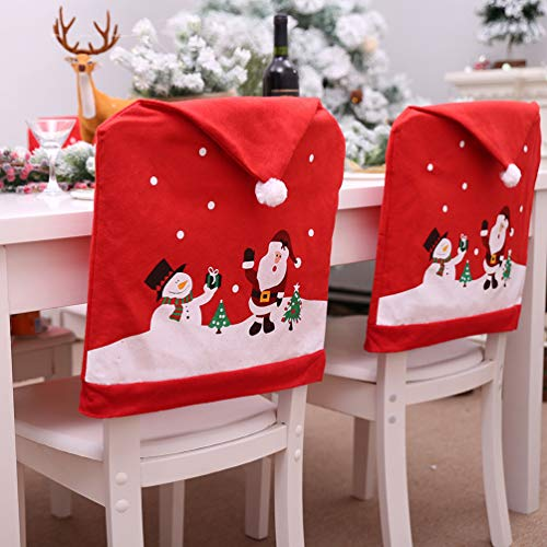 YOBAYE Santa Hat Chair Covers,Set of 6 Pack Kitch Chair Back Covers, Christmas Dinner Party Table Decorations,Santa Claus Snowman Chair Covers for Christmas Holiday Festival Decor