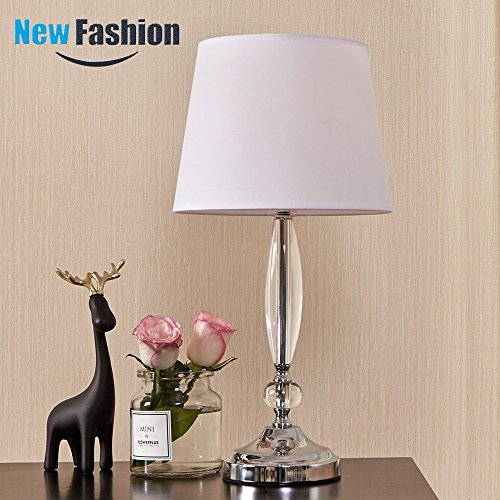 - Clear Acrylic Lamp Base Living Room Bedroom Beside Table lamp, Desk Lamp with White Fabric Lampshade