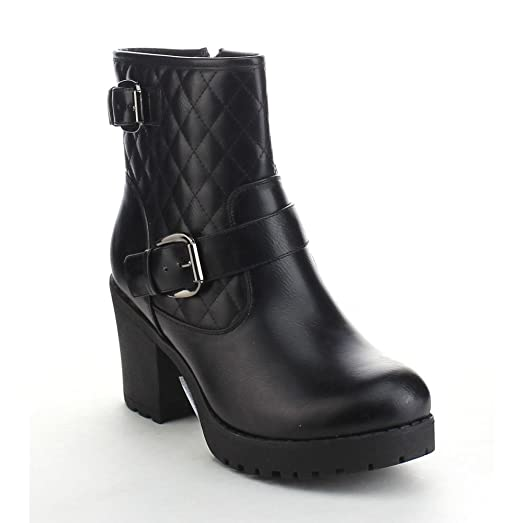 Club-03 Women's Quilted Buckle Strap Platform Chunky Ankle Booties