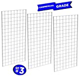 Only Garment Racks #1899WHT (3PCS) Only Garment Racks Commercial Grade Gridwall Panels – Heavy Duty Grid Panel for Any Retail Display, 2' Width x 4' Height, 3 Gridwall Panels Per Carton (White Finish)