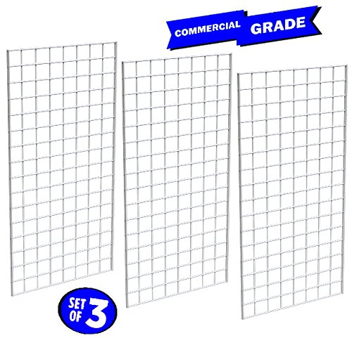 Only Garment Racks #1899WHT (3PCS) Only Garment Racks Commercial Grade Gridwall Panels – Heavy Duty Grid Panel for Any Retail Display, 2' Width x 4' Height, 3 Gridwall Panels Per Carton (White Finish) by Only Garment Racks