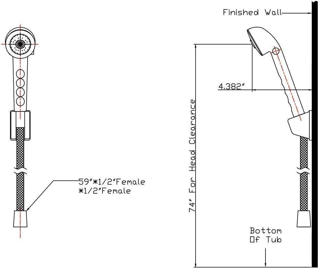 Brushed Satin Nickel Bundle DF-SA130-SN Dura Faucet RV Shower Head and Hose Kit and Shower Faucet Valve Diverter DF-SA100L-SN