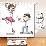 Nalahome Bath Suit: Showercurtain Bathrug Bathtowel Handtowel Engagement Party Decorations Cartoon of Lovely Romantic Couple with Wedding Ring Pink Blue and White