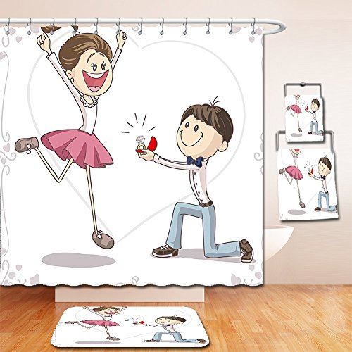Nalahome Bath Suit: Showercurtain Bathrug Bathtowel Handtowel Engagement Party Decorations Cartoon of Lovely Romantic Couple with Wedding Ring Pink Blue and White by Nalahome