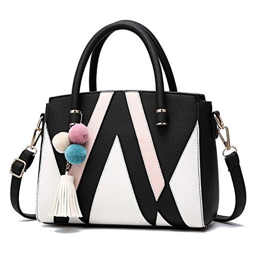 CLOTHES- Versión coreana Bolso de mujer del bolso Bolso de mensajero simple salvaje Mensajero de la bolsa Señora madura Bolso ( Color : Rosa claro ) Negro