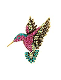 Vintage Diamante Lovely Woodpecker Animal Brooch Breastpin Corsage Collar Pin for Clothing Decoration