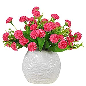 Mynse 5 Pieces 12 Flower Heads Silk Carnations Flower Outdoor Indoor Decoration Artificial Carnations Bush 83