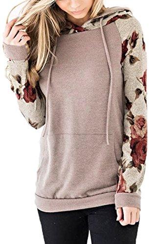 Angashion Women's Floral Printed Long Sleeve Pullover Hoodies Sweatshirt Pocket – DiZiSports Store