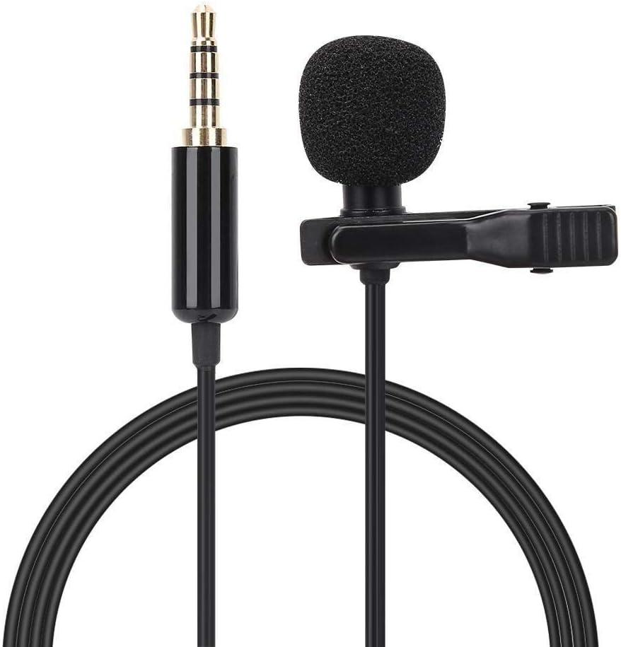 Huacaili Mikrofon Mobiltelefon Mikrofon tragbares Mikrofon mit Clip Lavalier 3,5 mm Audio Buchse 1,5 m Universal Auf Wiedersehen Lesen Leistung usw /Über das Mikrofon Wartung