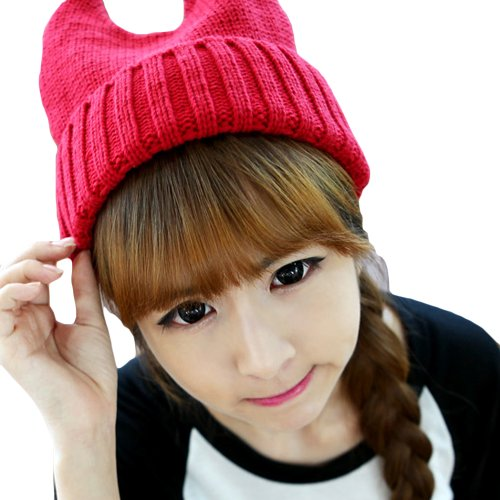 bc03e2ecae8 LOCOMO Women Girl Cute Cat Ear Slouchy Knit Beanie Hat Cap FAF033RED Red