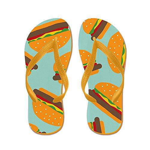 Cafepress Schattig Hamburger Patroon - Flip Flops, Grappige String Sandalen, Strand Sandalen Oranje