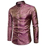 YIMANIE Mens Regular Fit Long Sleeve Shiny Silk Like Satin Dance Prom Luxury Dress Shirt Camouflage Tops