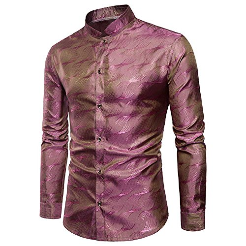Glamour Satin Wedding Dress - WULFUL Mens Slim Fit Regular Long Sleeve Shiny Satin Silk Like Dance Prom Dress Shirt Tops