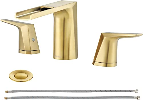 EZANDA 2-Handle Widespread Waterfall Bathroom Lavatory Faucet with Pop-up Sink Drain Assembly Faucet Supply Lines, Brushed Gold, 1431208