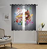 Stylish Window Curtains,Poker Tournament Decorations,Welcome to Casino Colorful Chips Cards Dice Roulette Jackpot Decorative,Multicolor,2 Panel Set Window Drapes,for Living Room Bedroom Kitchen Cafe