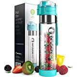 Infusion Pro Water Infuser - 24 oz Fruit Infuser Water Bottle | infused water bottle bpa free with Bottom Infusing…