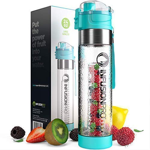 Infusion Pro Water Infuser - 24 oz Fruit Infuser Water Bottle | Infused Water Bottle bpa Free with Bottom Infusing Design | Flip Top Locking Spout with Neoprene Insulated Sleeve & Strainer