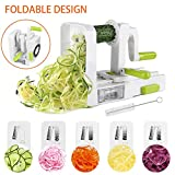 [NEWLY IMPROVED] Vegetable Spiralizer, 5 Blade Spiralizer Vegetable Slicer, Veggie Pasta Spaghetti Maker, Foldable Design with Cleaning Brush & Super Strong Suction Pad By Uvistare