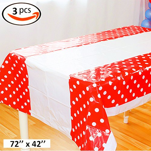 KIYOOMY Pack of 3 Polka Dot Plastic Tablecloth Red Table Covers (Red, 72''x42'')
