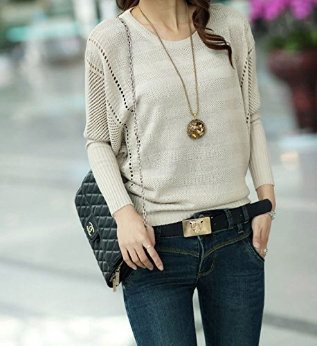 LaLaMa Womens Fashion Fitted Loose Batwing Round neck Knitwear Sweaters