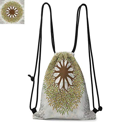 Tree of Life Printed drawstring backpack Indian Mandala Design with Leaves and Woods Round Shape Eastern Cultural Art Suitable for school or travel W13.8 x L17.7 Inch Green Brown