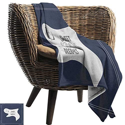 AndyTours Blankets Fleece Blanket Throw,Sweet Dreams,Artistic Frame with Sleeping Ghost Text on Dark Blue Backdrop, Dark Blue Pale Grey White,300GSM,Super Soft and Warm,Durable Throw Blanket 50