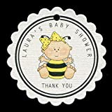 Baby Shower Favor Tags, Baby Girl Bee, Personalized (set of 25) RBLG6