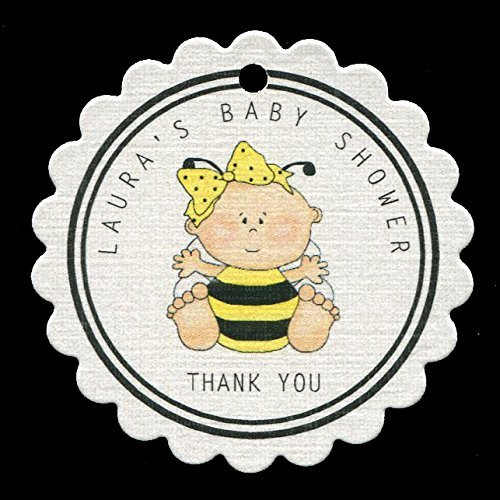 Baby Shower Favor Tags, Baby Girl Bee, Personalized (set of 25) RBLG6 by Susie Dee's
