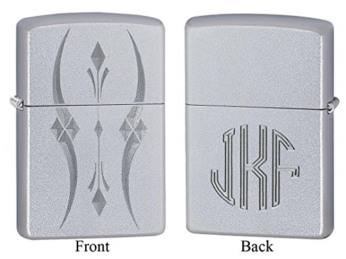Personalized Zippo Pristine Curves Satin Chrome Lighter with Free Monogram