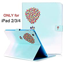 iPad 2/3/4 Case, Dteck(TM) Slim-Fit Folio Leather [Card Slots/ Money Holder] Smart Cover with [Auto Sleep/Wake Feature] for Apple iPad 2/iPad 3/iPad 4 (01 Flying House)