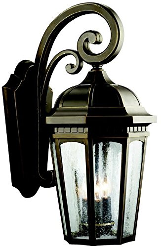Kichler 9034RZ, Courtyard Cast Aluminum Outdoor Wall Sconce Lighting, 180 Total Watts, Rubbed Bronze