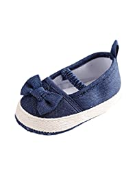 Baby Girl Mary Jane Jeans Blue Bow Soft Sole Anti-slip First Walker Shoes