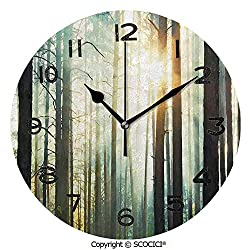 SCOCICI 10 Inch Round Face Silent Wall Clock Fairy Foggy Forest Mist in The Woods Enchanted Wilderness with Sunbeams Image Decorative Unique Contemporary Home and Office Decor