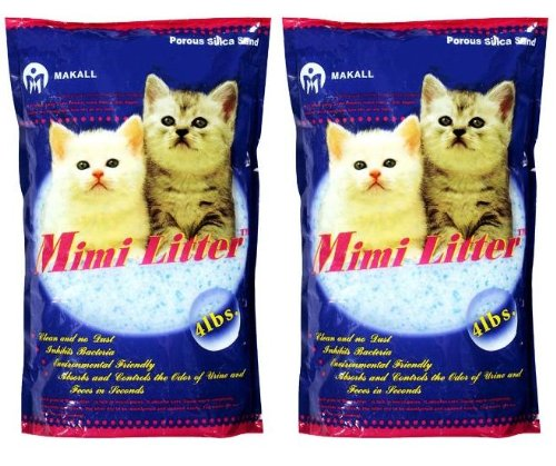 Mimi Pet Cat Litter Silica Gel Crystals, Ultra Absorbent & Lightweight 4-Pound Bags by Mimi Litter