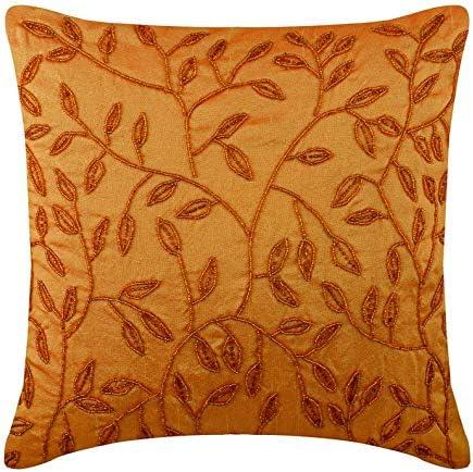 Designer Orange European Pillow Covers 26×26 inch 65×65 cm , Silk Euro Shams, Nature Floral, Leaf, Beaded, Modern Euro Sham Covers – Citrus