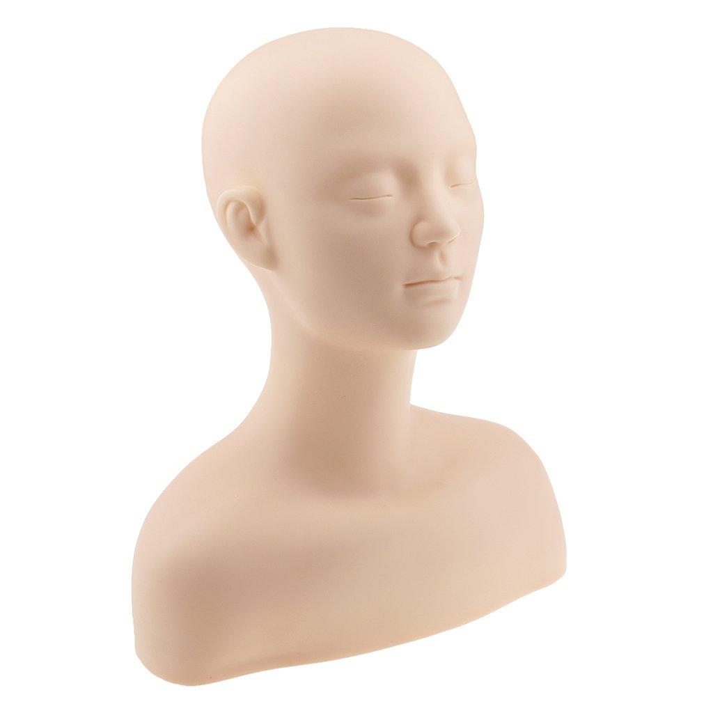 Sharplace Mannequin Tête Epaule Os en Silicone Souple Pour Entraînement de Maquillage et Massage
