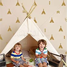 Set of 68 Tribal Decals Teepee arrow triangle kids room wall decal stickers wallpattern (Gold)