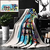 Ralahome Unique Custom Double Sides Print Flannel Blankets Tribal Native American Folk Motif Unusual India Ornament Navajo Print Burgund Super Soft Blanketry Bed Couch, Throw Blanket 60 x 50 Inches