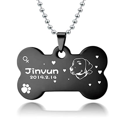 cee915318798a Jinvun Custom Dog Tags (Engraved Bone) Personalized Name, Date, Information  | Cute Head Portrait | Small and Large Sizes | Weather-Resistant ...