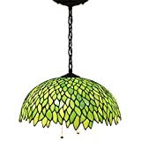 16P Tiffany Pendant Lamp Crystal Bead Dragonfly 16 Inch Sea Blue Stained Glass Shade for Dinner Room Hanging 2 Light (S523 Series)